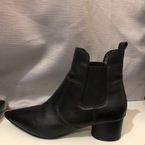 Kendal and Kylie Black Leather Ankle Booties
